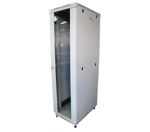 Шкаф телекоммуникационный напольный 18U (600х800) дверь стекло фото