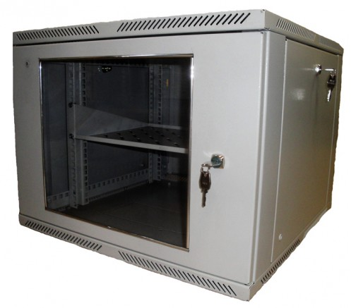 Шкаф телекоммуникационный настенный 9U (600x520) дверь стекло фото