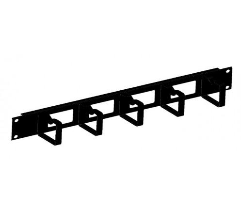 Кабельный органайзер горизонтальный 1U с окнами, кольца 60мм, черный фото